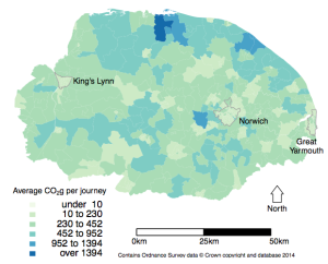 Map of CO2 emissions (grouped by residence LSOA) for Norfolk.