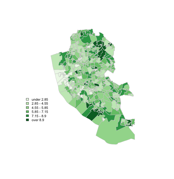 Creating choropleth maps in R with the darkest colour at the
